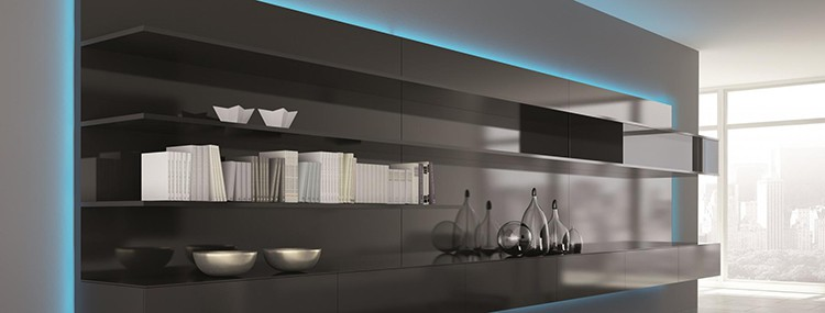 Bookcase and Colored Accent Lighting
